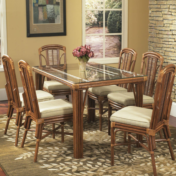 Bayview Rectangular Dining Table With Glass Top