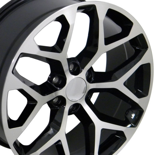 "22"" 2015 CK156 Chevy Silverado GMC Sierra 1500 Cadillac Machined Black Wheels Set of 4 22x9"" Rims"