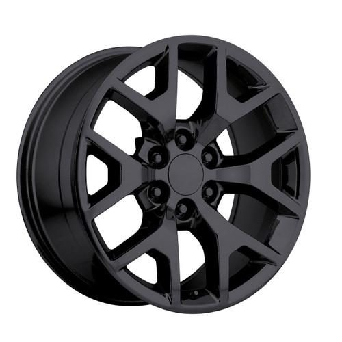 "20"" 2014 GMC Sierra Chevy 1500 Silverado Replica Wheels Rims Tire Pkg Gloss Black Set of 4 20x9"" - Hollander: 5656"