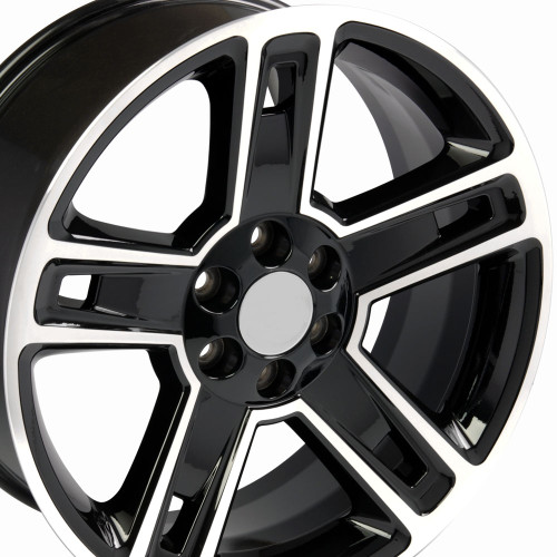 "22"" Fits Chevrolet 2015 Silverado Tahoe CK160 Wheels GMC Gloss Black with Machined Face Set of 4 22x9"" Rims Hollander # 5664"