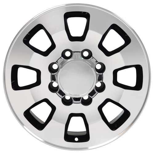 "18"" Fits Chevrolet GMC Sierra 2500 3500 8x180 Wheels Black with a Machined Face Set of 4 18x8"" Rims"