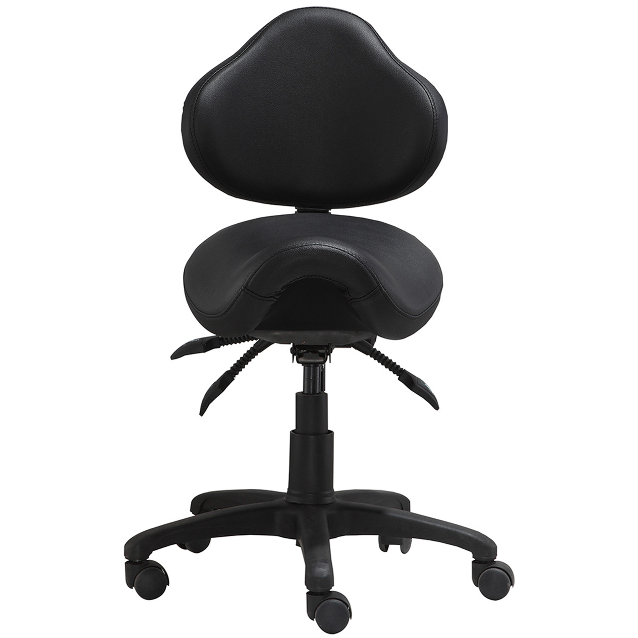 ergonomic adjustable rolling saddle stool with adjustable seat and