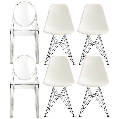 set of 6 chairs 4 white eiffel chrome side chairs 2 clear