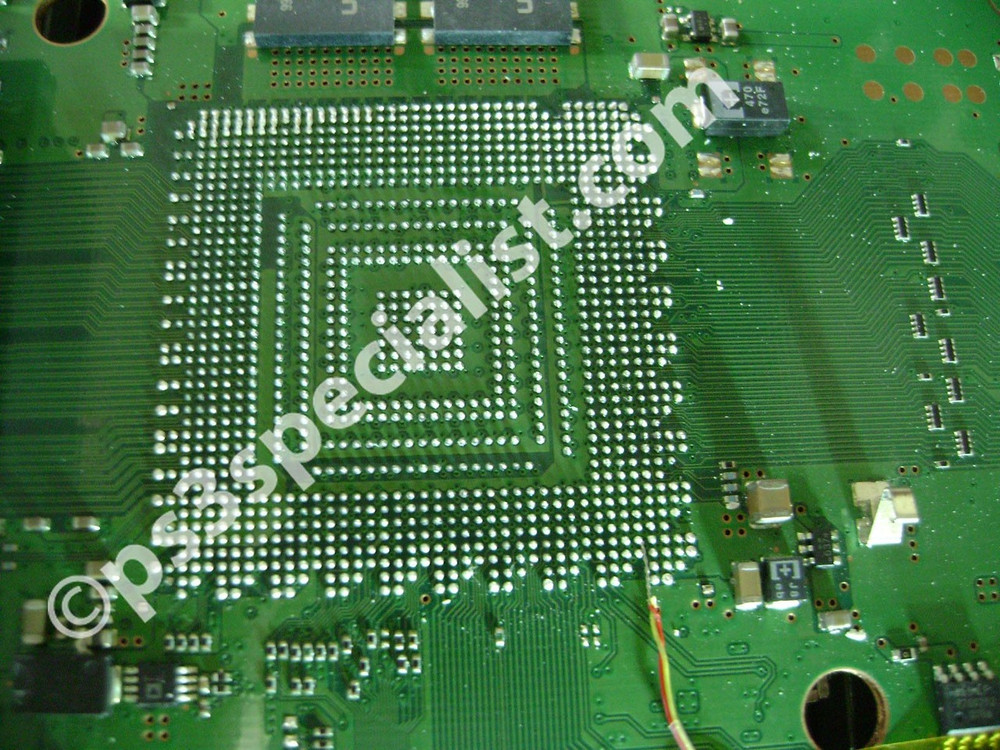 the motherboard after removing the graphics chip