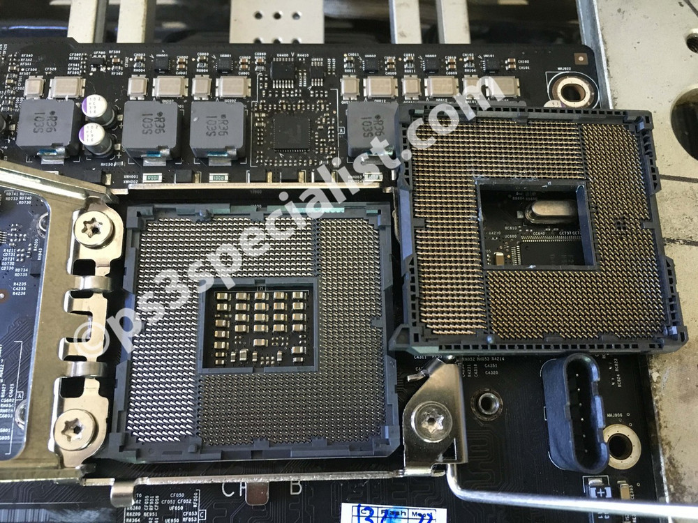 A very valuable iMac dual processor motherboard has been saved from going to the trash by a successful replacement process of the damaged CPU socket, the picture show the damaged and the new CPU sockets after the replacement process saving to its owner close to a one thousand dollars.