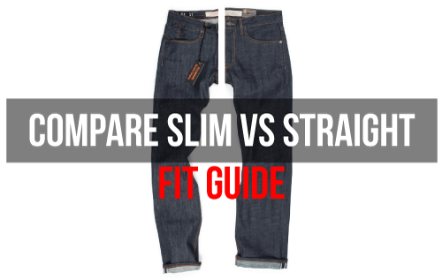 Compare slim vs straight fits size 48 denim jeans
