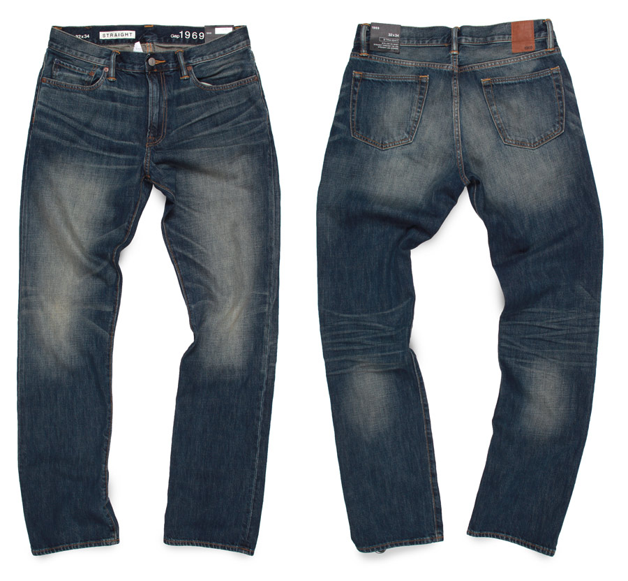 Distressed jeans by Gap 1969 with man made dark wash
