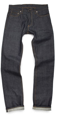Fit of 3Sixteen SL-100X men's straight raw jeans made in USA