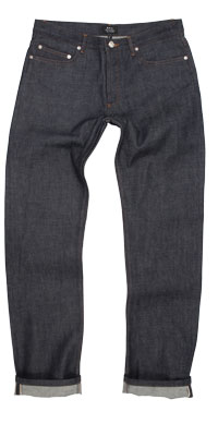 Fit of APC men's straight raw denim jeans made in Vietnam