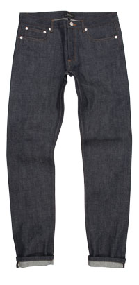 Fit of APC men's Petit New Standard raw denim jeans made in Vietnam
