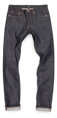 Fit of APC men's Petit Standard raw denim jeans made in Vietnam