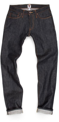 Fit of Tellason slim fit raw denim jeans made in USA