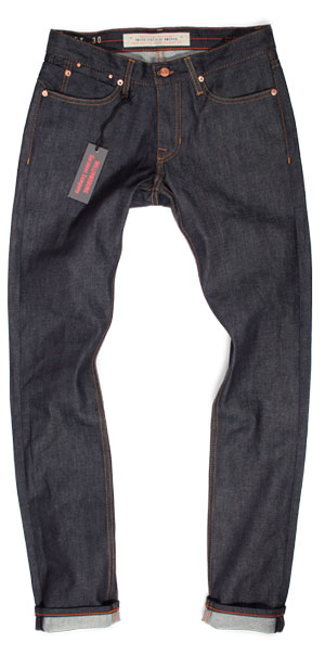 Fit of S Hope St. raw denim slim tapered jeans made in USA