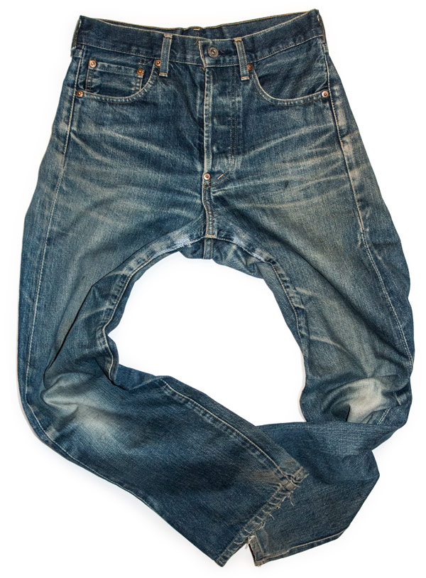 Old whiskered jeans naturally aged