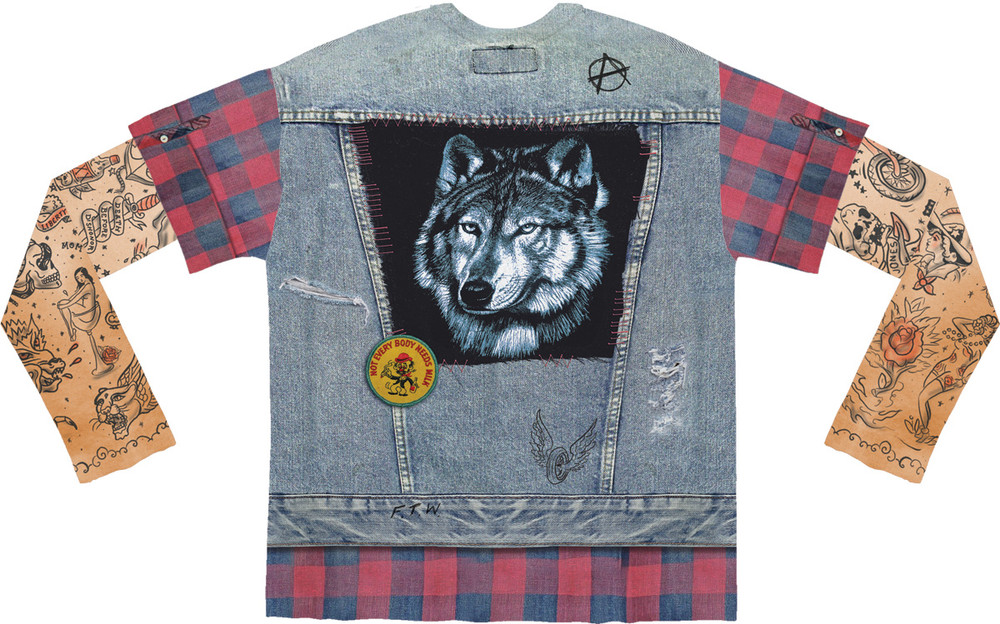 Faux Real Jean Jacket Tattoo with Mesh Sleeves - Back View