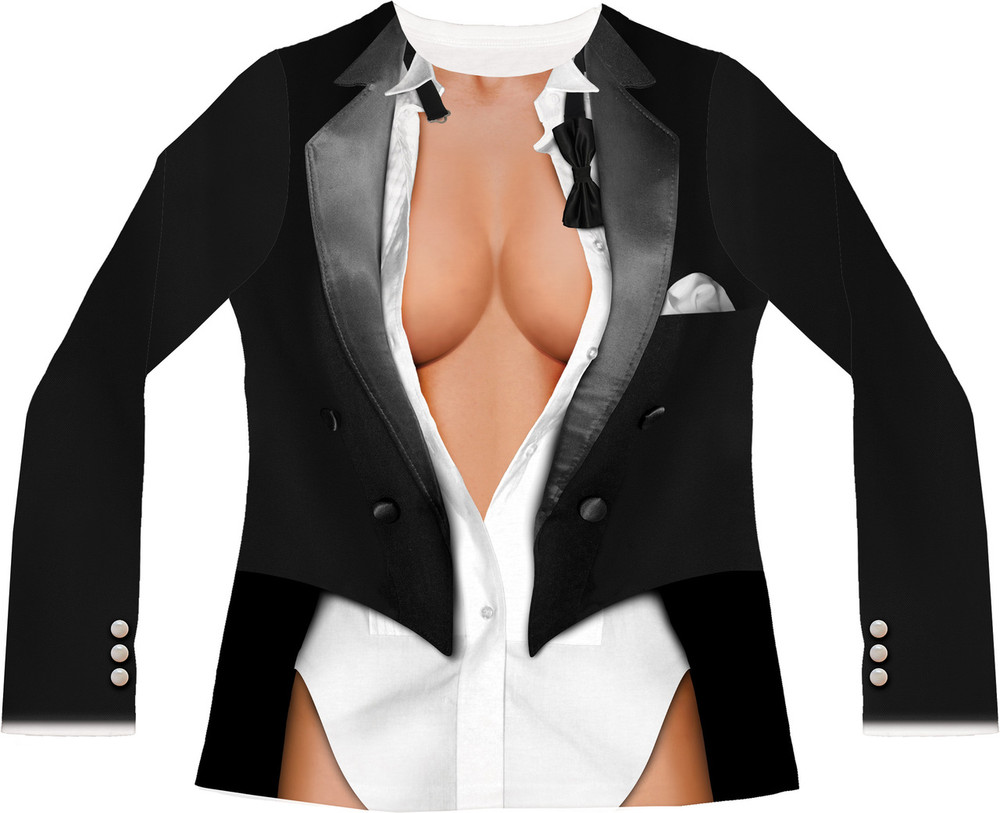 Faux Real Cleavage Tux - Front View