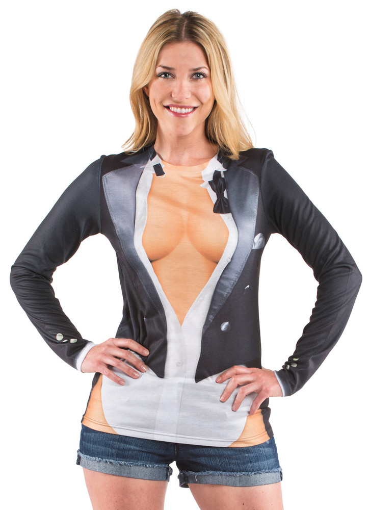 Faux Real Cleavage Tux - Model Front View