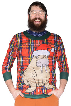 Faux Real Plaid Walrus Sweater T-Shirt - Front View