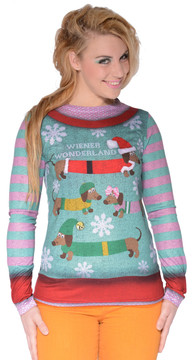 Faux Real Ladies Wiener Wonderland T-Shirt - Front View