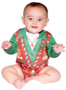 Infant Ugly Christmas Vest Romper - Front View