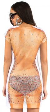 Faux Real Rhinestone Dress Back View