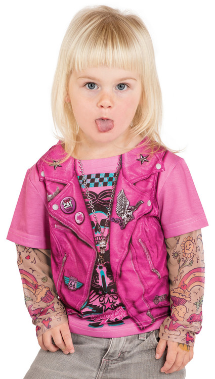 Faux Real Toddler Pink Biker Girl - Model Front View