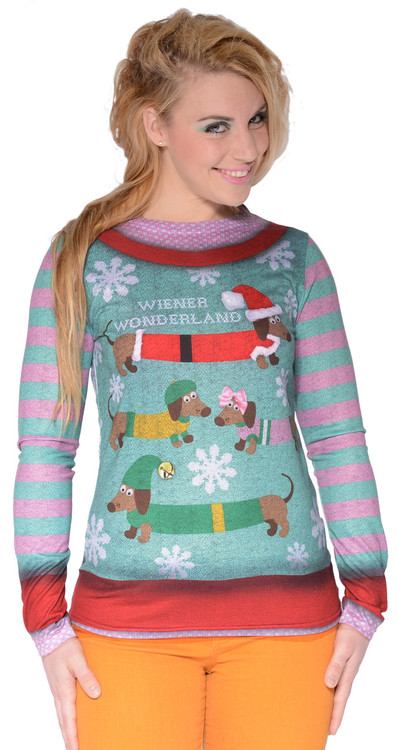 Faux Real Ladies Wiener Wonderland T-Shirt - Front View