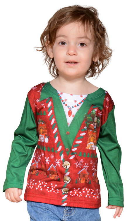 Toddler Ugly Christmas Vest T-Shirt - Front View