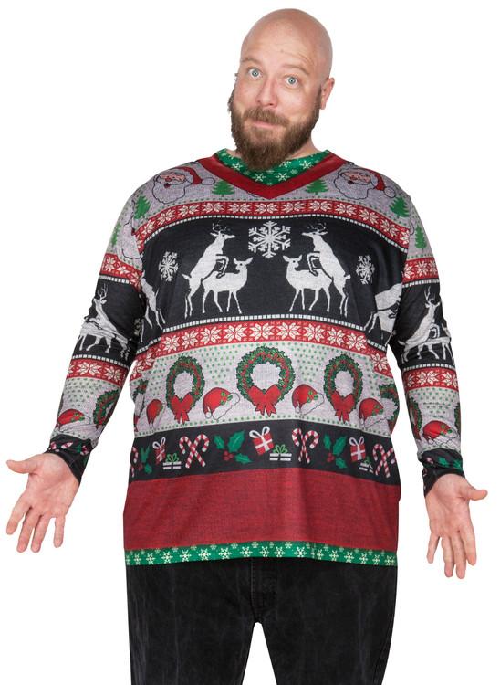 big size frisky deer sweater - Redneck Christmas Sweaters