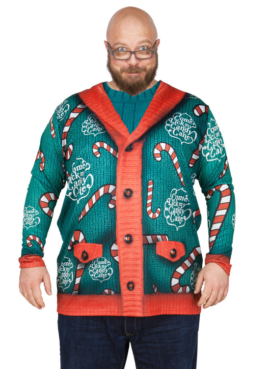 big size lick my candy cane sweater - Offensive Ugly Christmas Sweater