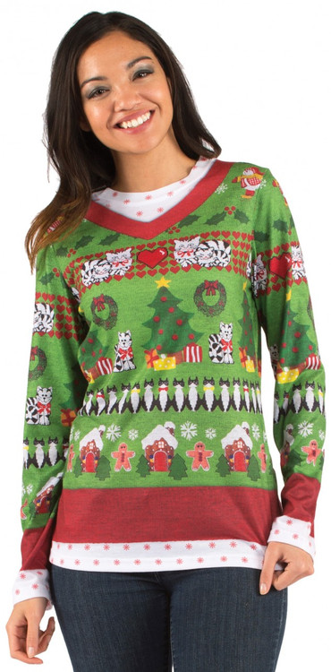 Faux Real Ladies Ugly Christmas Sweater Front View