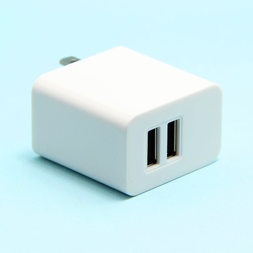 12W 5V 2.4A Dual-Port USB Travel Charger Adapter -White