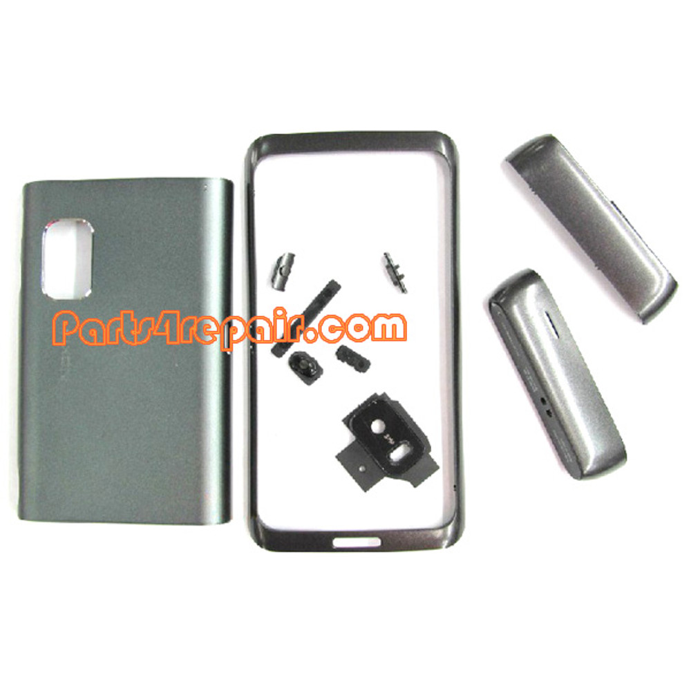 Full Housing Cover for Nokia E7 / E7-00 -Silver from www.parts4repair.com