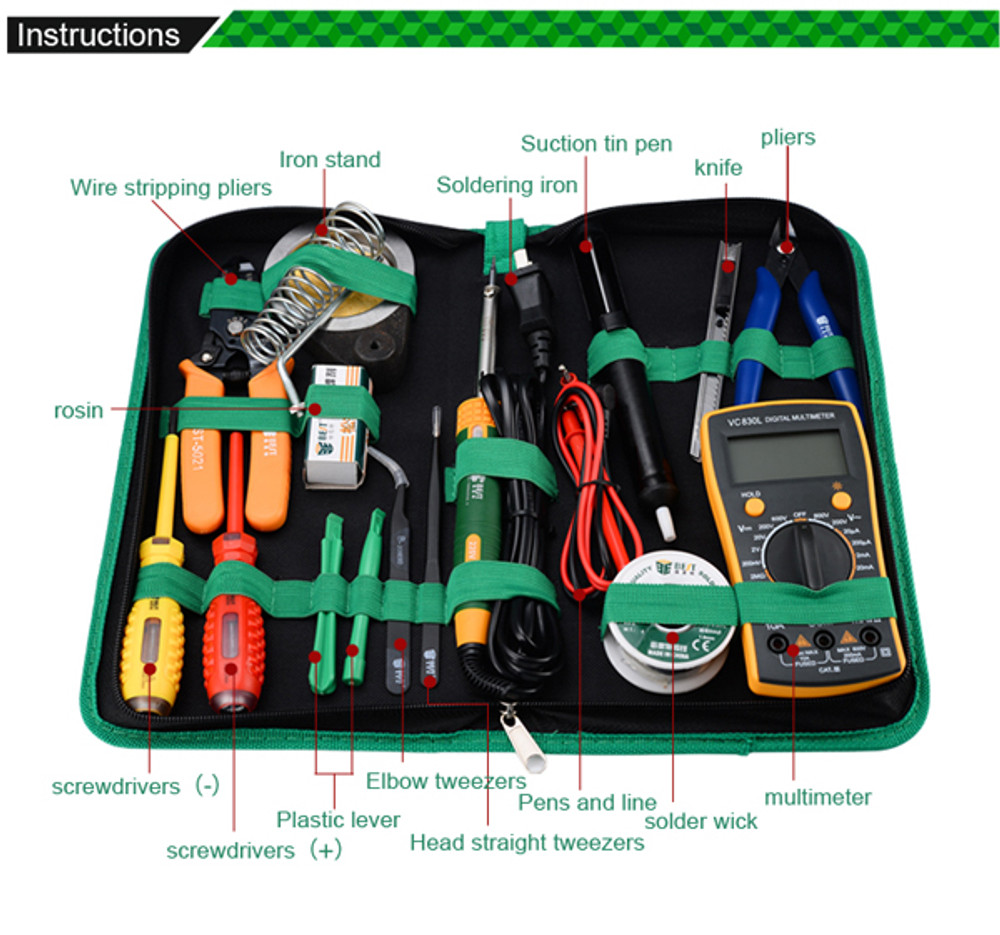 16 in 1 BST-113 Household Multi-function tools kit Solder Multimeter