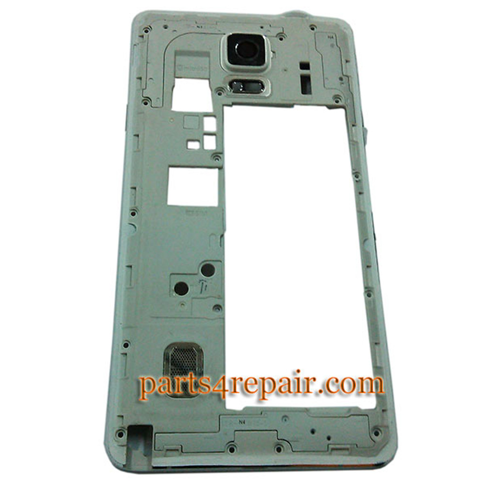 Middle Housing Cover with Side Keys for Samsung Galaxy Note 4 N910G -White from www.parts4repair.com