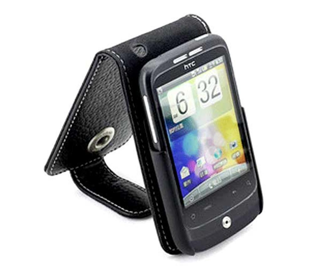 HTC wild fire Leather Case Black