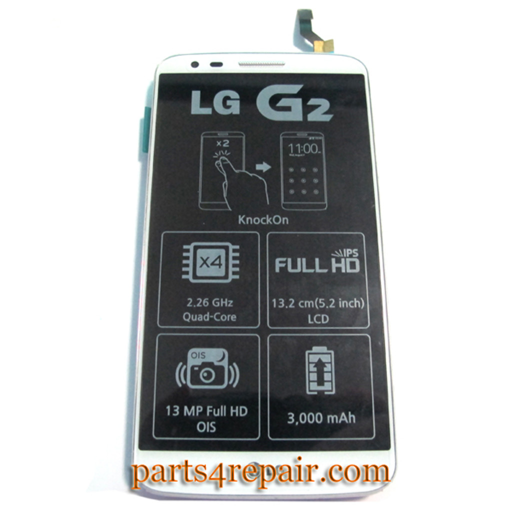 Complete Screen Assembly with Bezel & Battery for LG G2 D802 from www.parts4repair.com