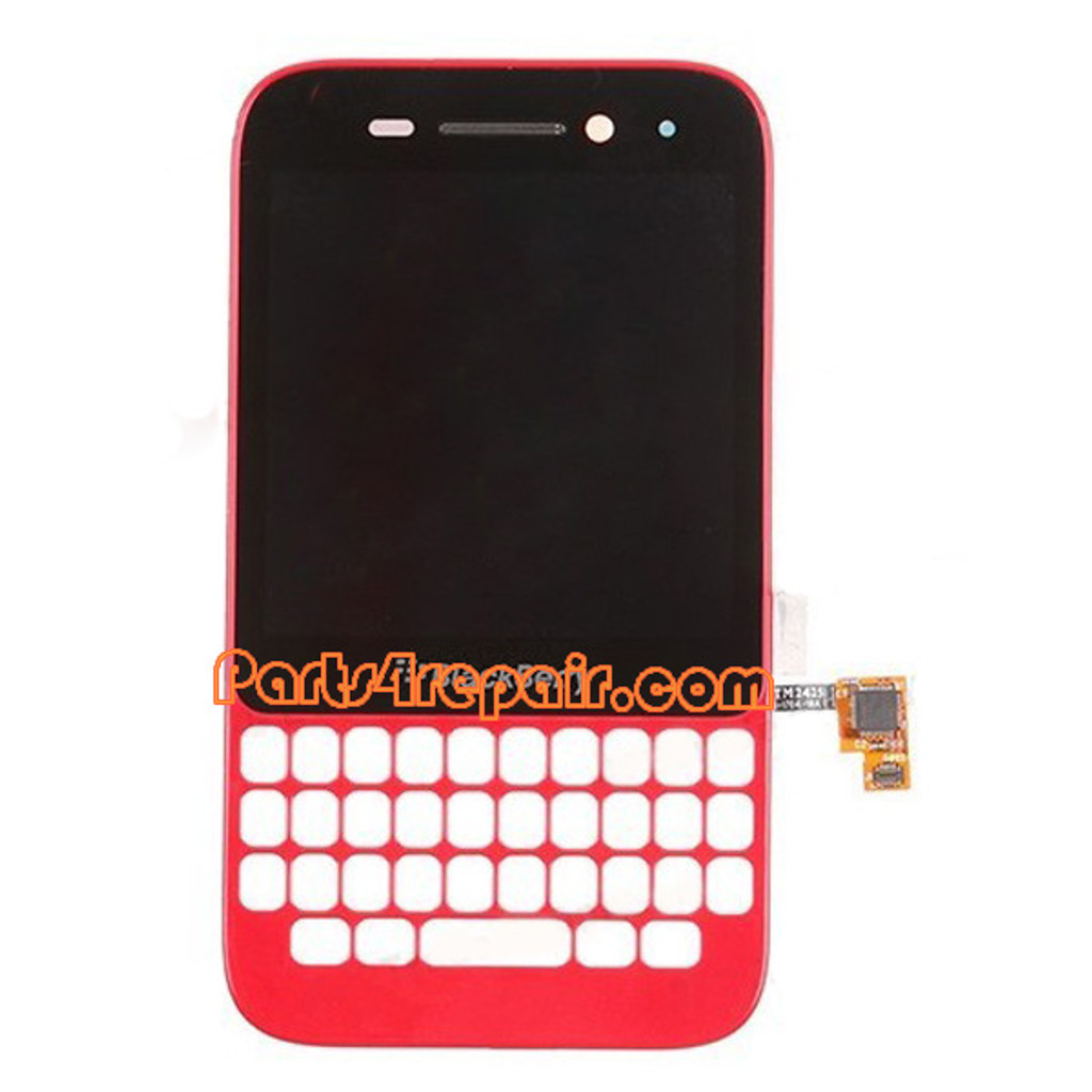 Complete Screen Assembly with Frame for BlackBerry Q5 -Red from www.parts4repair.com