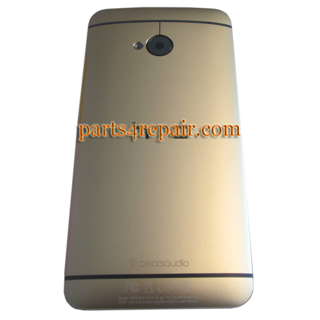 Back Cover for HTC One M7 -Gold from www.parts4repair.com