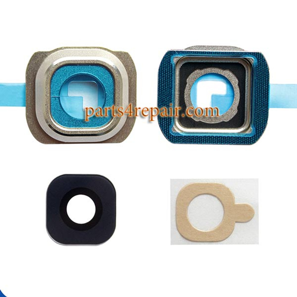 Camera Cover and Lens with Adhesive for Samsung Galaxy S6 All Versions -Gold