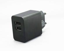 5V 2.4A 12W Dual-Port USB Travel Charger EU Plug Type E/F Adapter  -Black