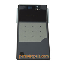 Generic Back Cover with Tempered Glass for Sony Xperia Z L36H -Black (Japan Version)