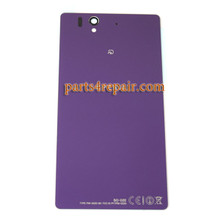 Generic Back Cover with Tempered Glass for Sony Xperia Z L36H -Purple (Japan Version)