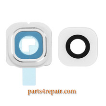 Camera Cover and Lens with Adhesive for Samsung Galaxy S6 Edge All Versions -White