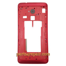 Middle Cover for HTC One Max -Red from www.parts4repair.com