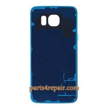 Back Cover with Adhesive for Samsung Galaxy S6 Edge All Versions -Black Sapphire