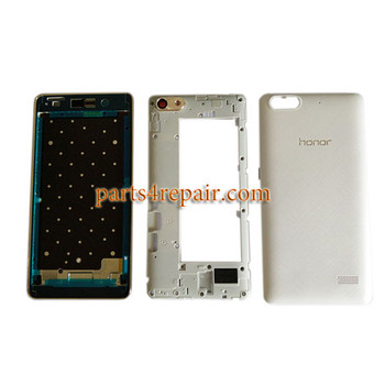 Full Housing Cover with Side Keys for Huawei Honor 4C -White