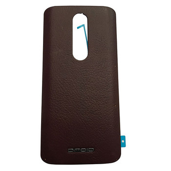 Back Leather Cover with Adhesive for Motorola Droid Turbo 2 -Dark Brown