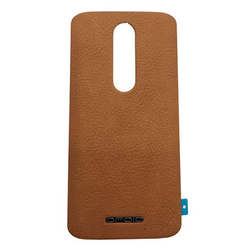 Back Leather Cover with Adhesive for Motorola Droid Turbo 2 -Light Brown