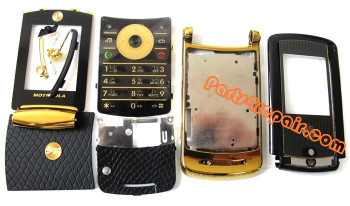Motorola RAZR2 V8 Full Housing Cover (Gold Edition) from www.parts4repair.com